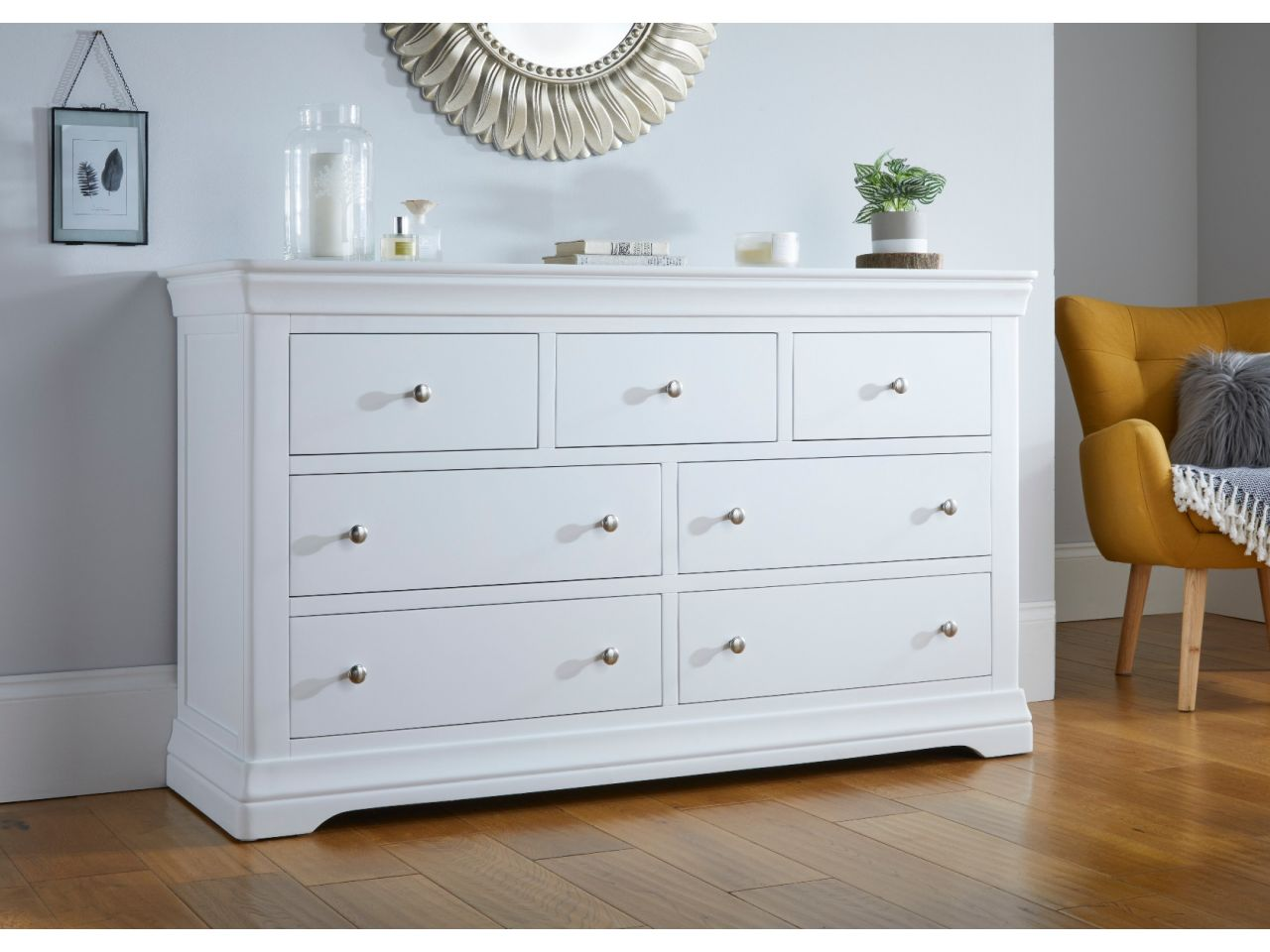 Picture of: Toulouse White Painted Grande Extra Large 3 Over 4 Chest Of Drawers Free Delivery Top Furniture