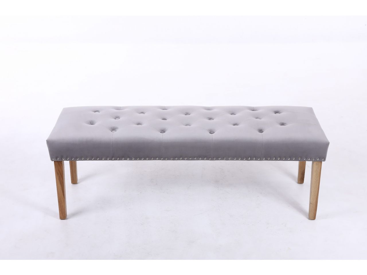 Astonishing Highgrove Grey Velvet Fabric Studded Medium Oak Dining Bench Autumn Sale Gmtry Best Dining Table And Chair Ideas Images Gmtryco