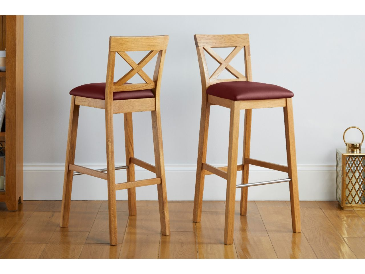 java cross oak kitchen bar stool with red leather pad