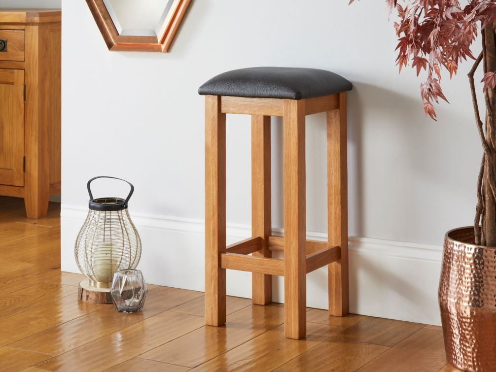 Baltic Solid Oak Brown Leather Kitchen Stool