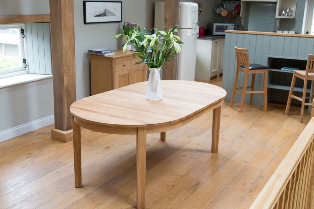 Round Baltic Premium Solid Oak Double Extending Table