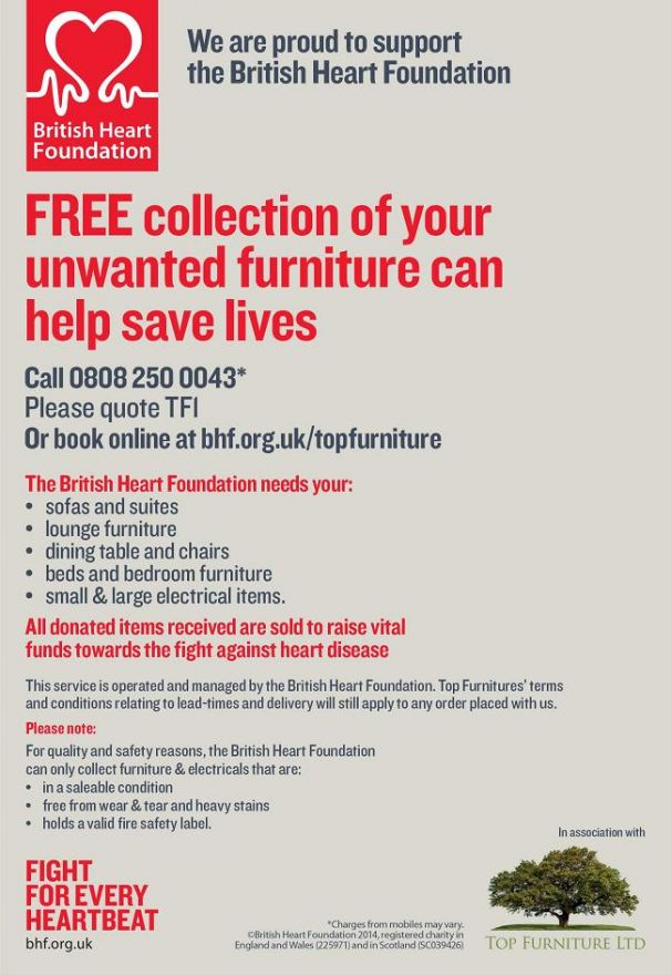 free furniture collection service from the British Heart Foundation