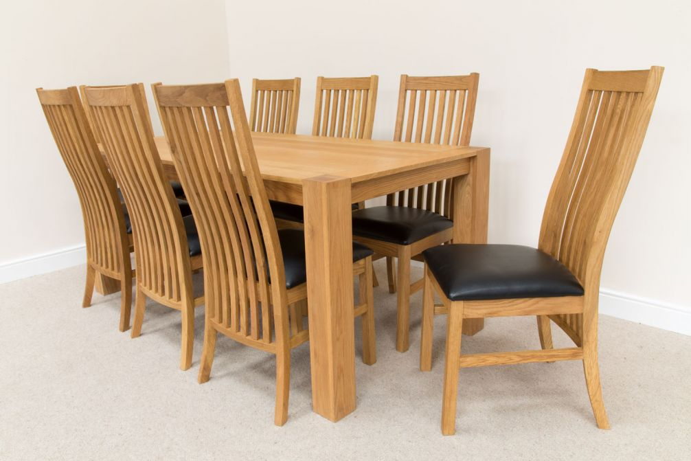 Cambridge Oak 1 8m 8 Seater Dining Table Black Leather Chair Set