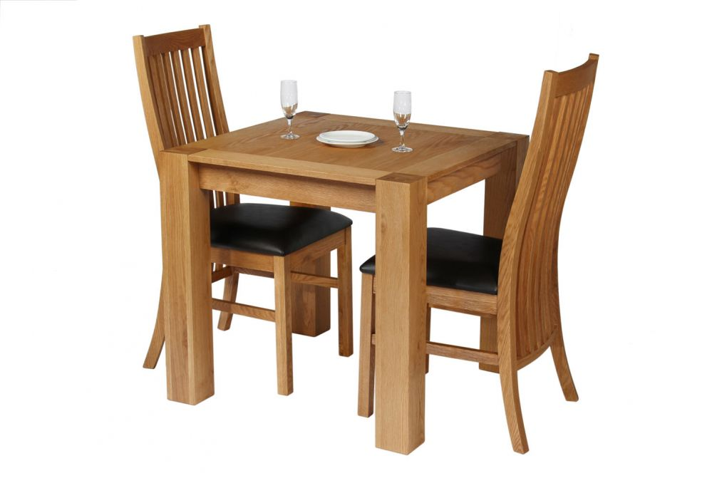 Cambridge Oak Table Leather Chair Dining Set