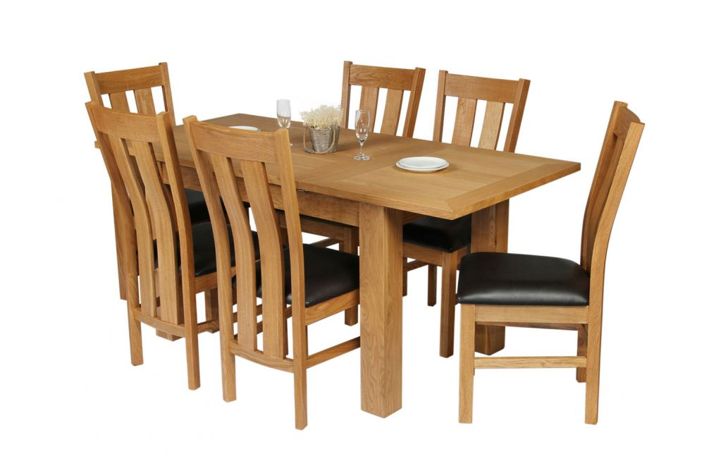 Caravella 6 Seater Extending Oak Table Leather Chair Set