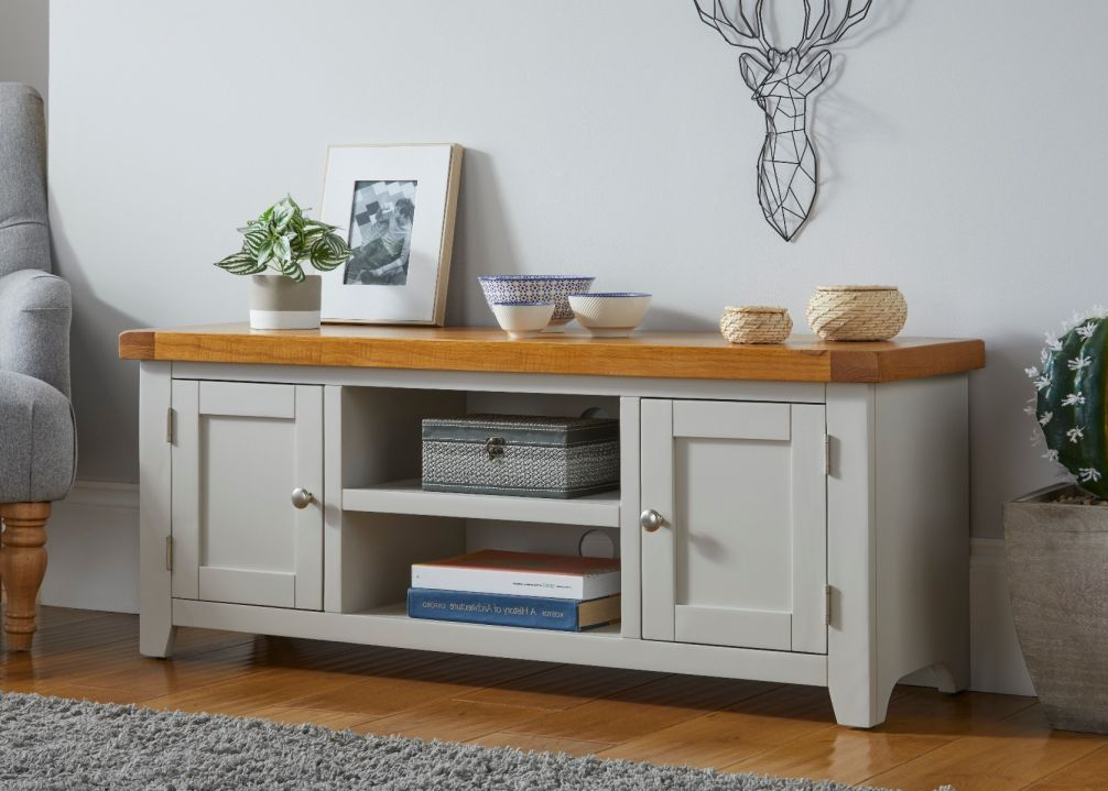 Cheshire Grey Painted 125cm Large Oak TV Unit with Doors & Shelves