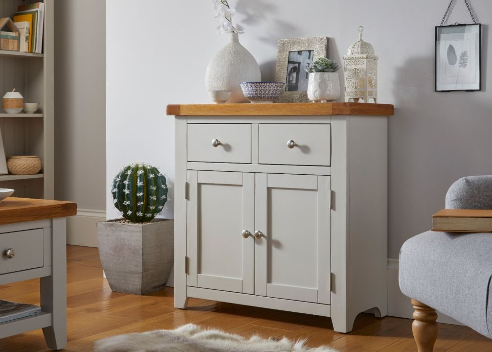 Cheshire Grey Painted 80cm Small Oak Sideboard