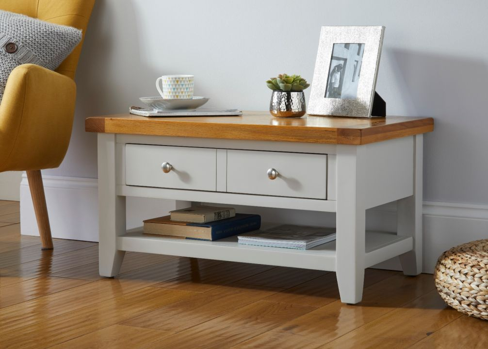 Cheshire Grey Painted Oak Coffee Table with Drawer & Shelf
