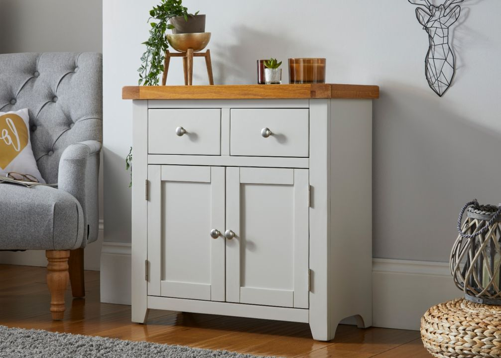Cheshire Grey Painted 75cm Petite Oak Sideboard