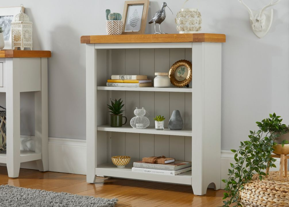 Cheshire Grey Painted Low Oak Bookcase