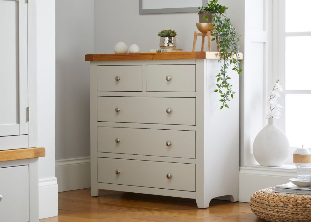 Cheshire Grey Painted Oak 2 Over 3 Chest of Drawers