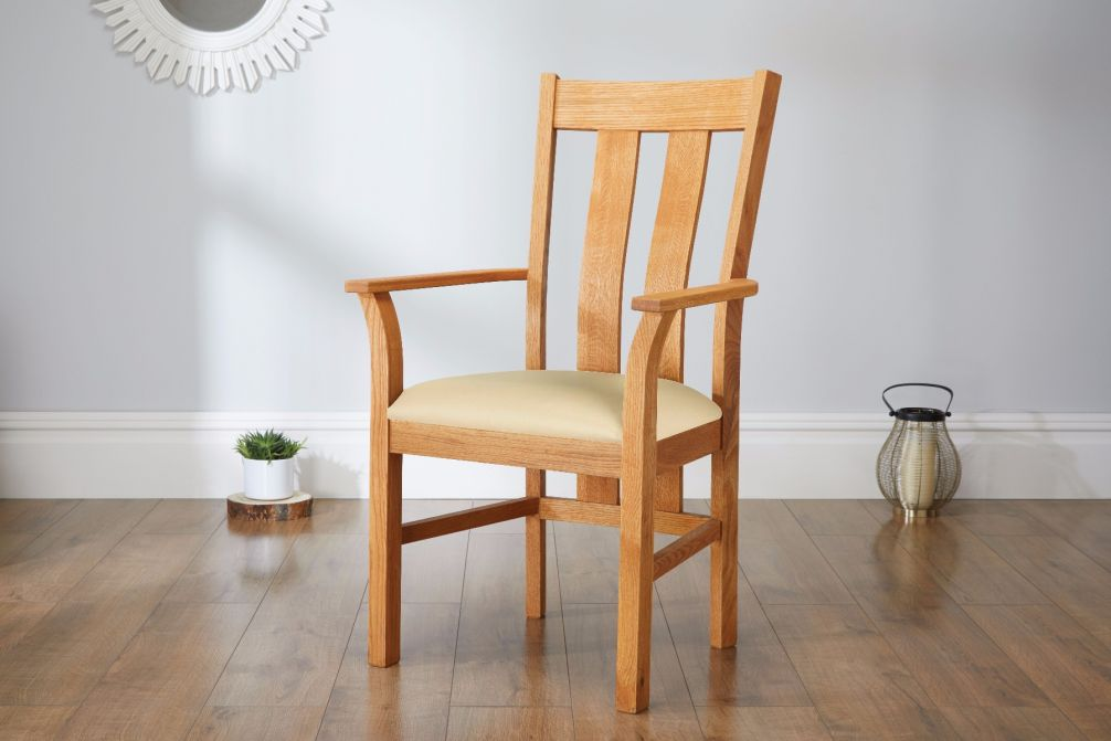 Churchill Solid Oak Cream Leather Carver Dining Chair