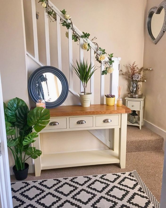 Country Cottage Cream Painted 3 Drawer Console Table - Instagram influencer photo