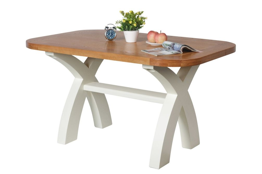 140cm Cream Painted Country Oak Dining Table Oval Corners
