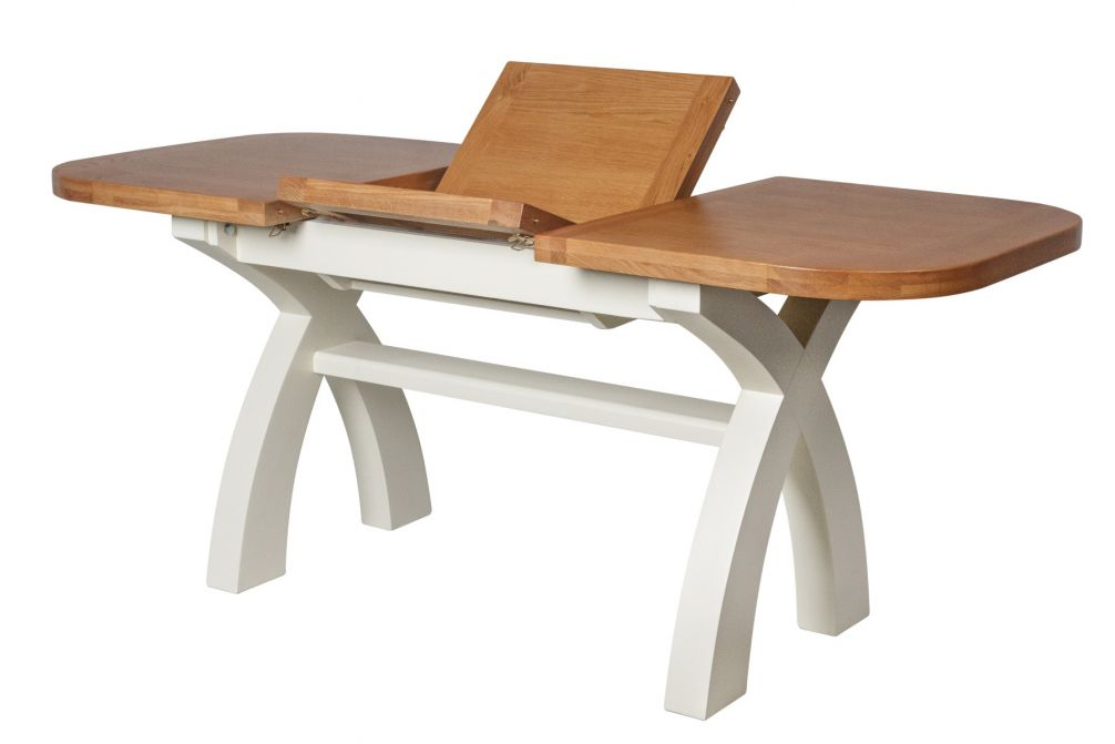 Country Oak 1.3 to 1.8m Cream Painted Extending Dining Table Oval Corners