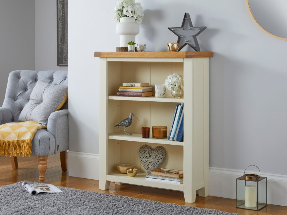 Country Cottage Cream Painted Small Low Oak Bookcase