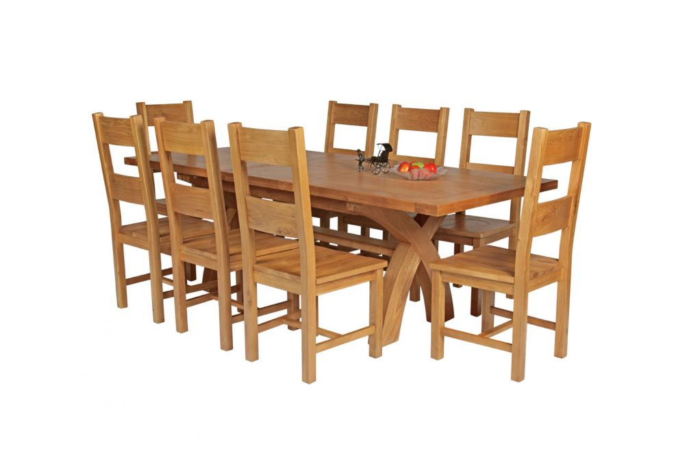 Country Oak 230cm Cross Leg Square Table 8 Chester Timber Seat Chairs