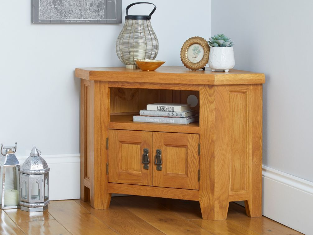 Country Oak 2 Door Corner TV Unit with Shelf
