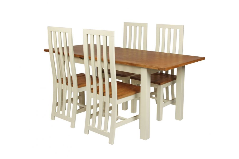 Country Oak 180cm Cream Painted Extending Dining Table & 4 ...