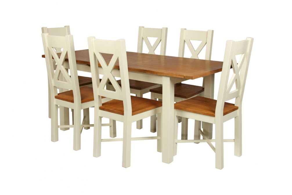 Country Oak 180cm Cream Painted Extending Dining Table 6 Grasmere Cream Painted Chairs