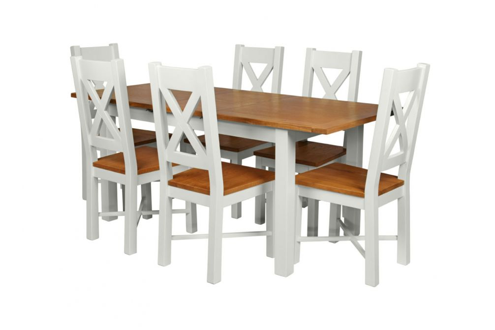 Country Oak 180cm Grey Painted Extending Dining Table 6 Grasmere Grey Painted Chairs