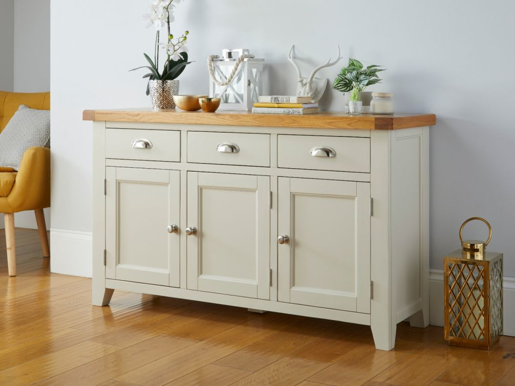 Country Cottage 140cm Grey Painted Large Oak Sideboard