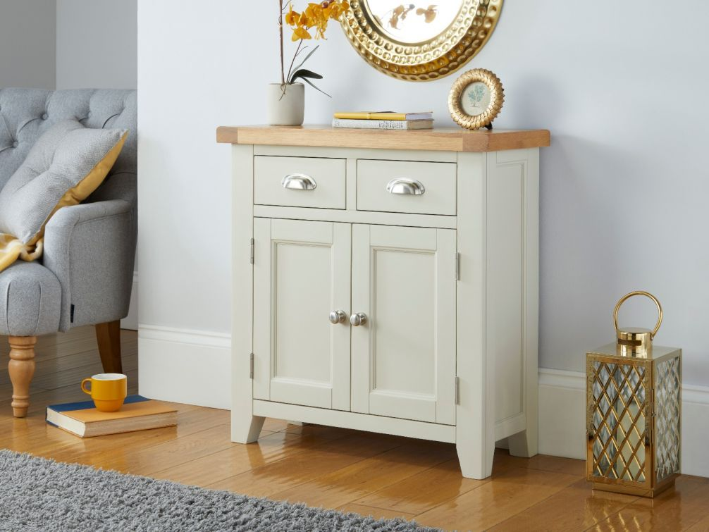Country Cottage 80cm Grey Painted Small Oak Sideboard