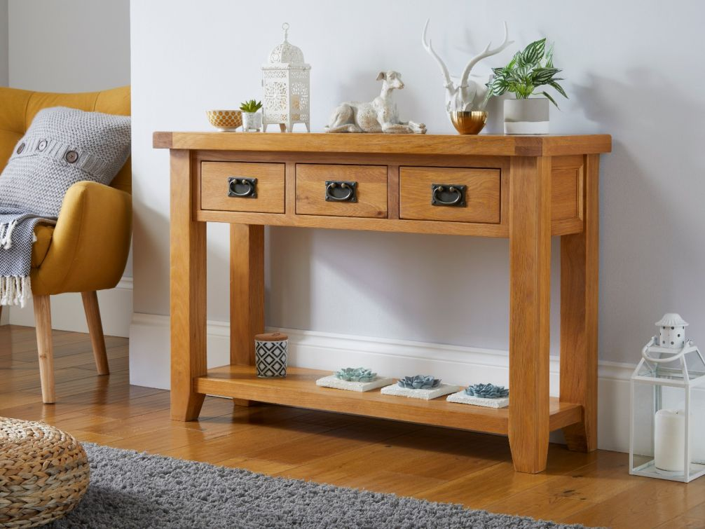 Country Oak 3 Drawer Console Table, Hallway storage furniture
