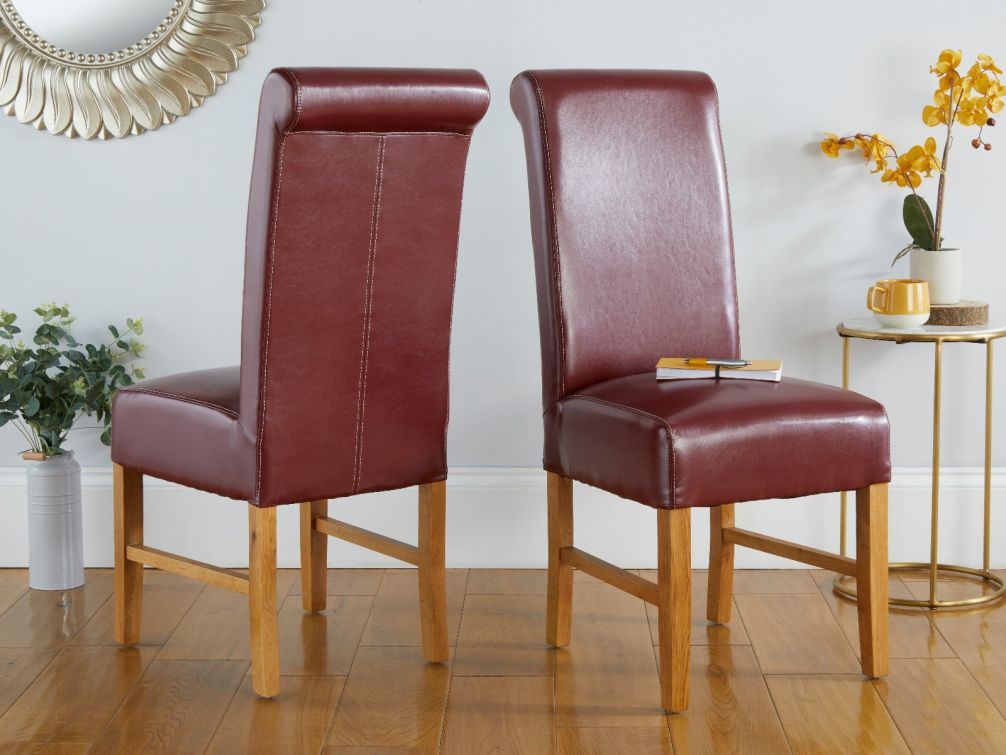 Scroll Back Emperor Red Leather Oak Dining Chairs