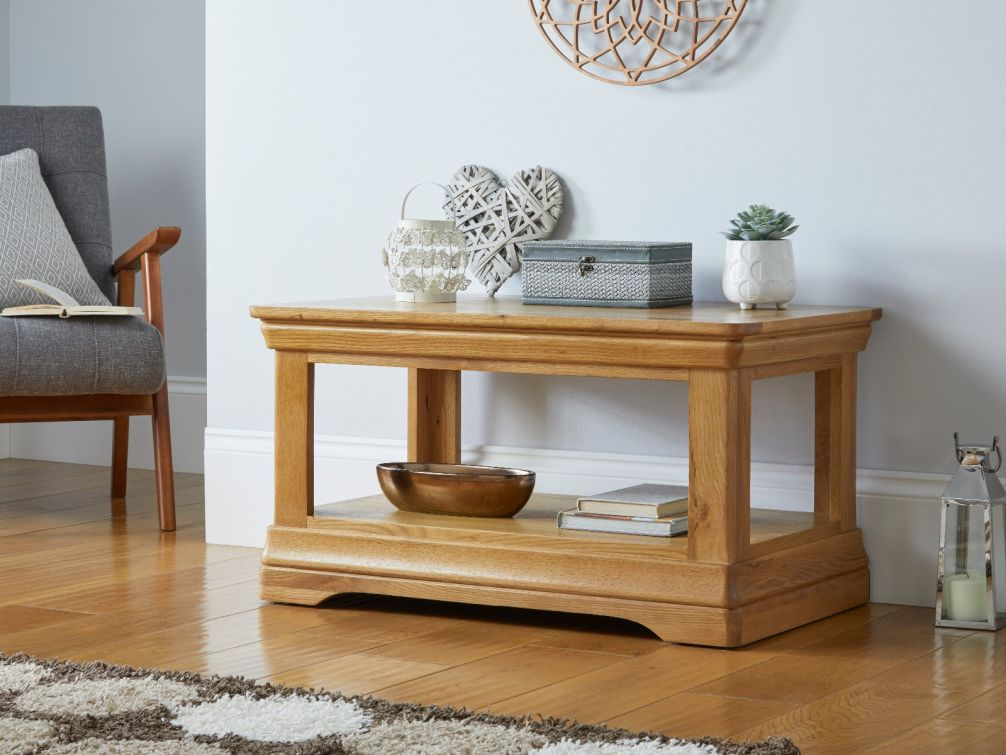 Farmhouse Oak Coffee Table with Shelf Storage