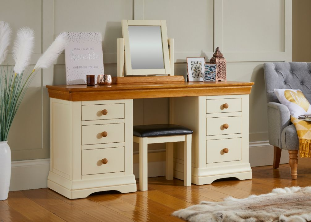 Farmhouse Country Oak Cream Painted Large Double Pedestal Dressing Table