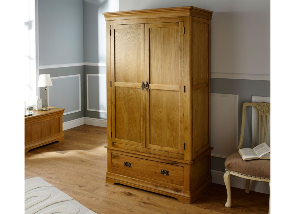 French Farmhouse Country Oak Double Wardrobe Free Delivery Top Furniture
