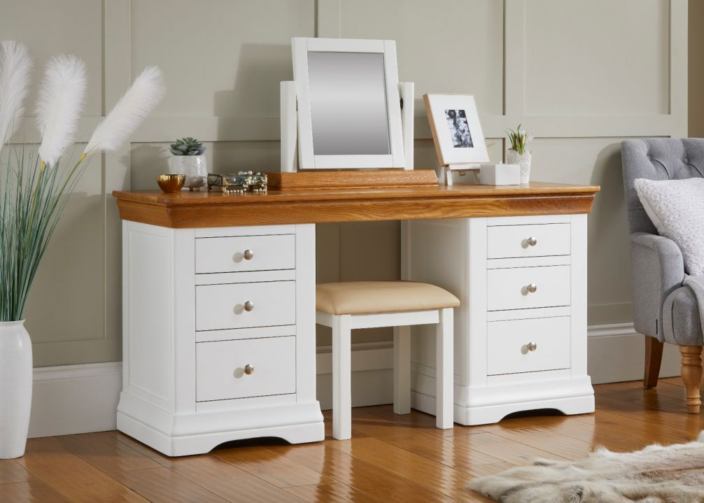 Farmhouse Country White Painted Double Pedestal Large Dressing Table