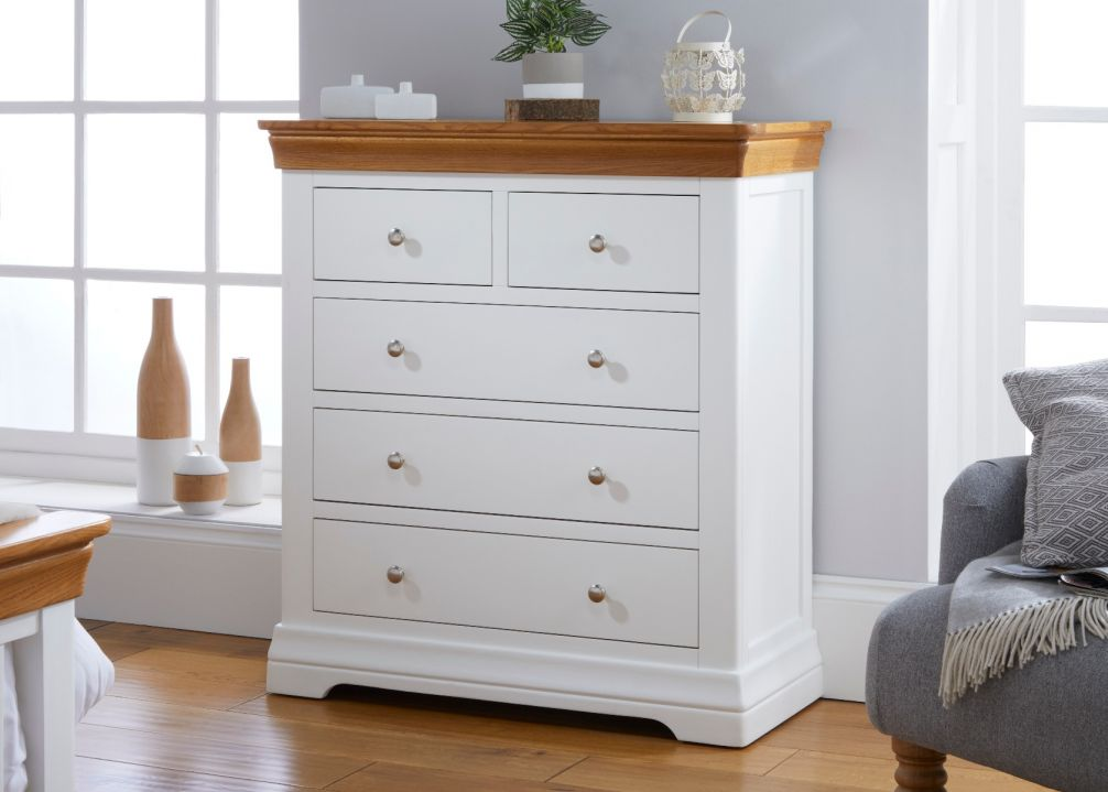 Farmhouse White Painted 2 Over 3 Oak Chest of Drawers