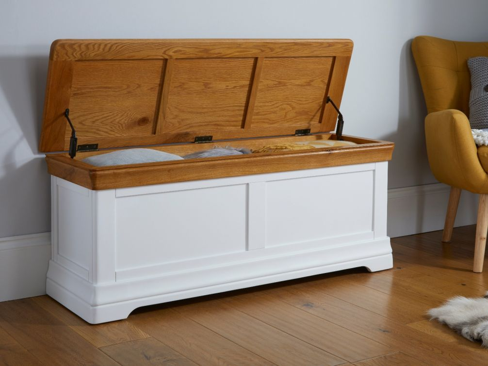Farmhouse White Painted Large Oak Blanket Storage Box