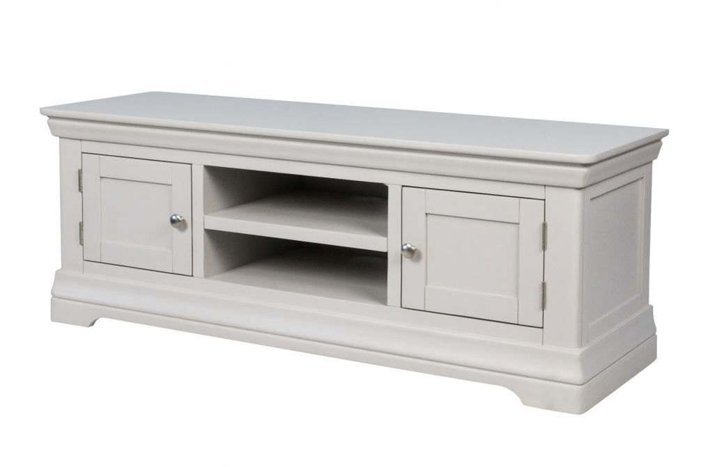 Toulouse Large Grey Painted TV Unit 2 Doors and Shelf
