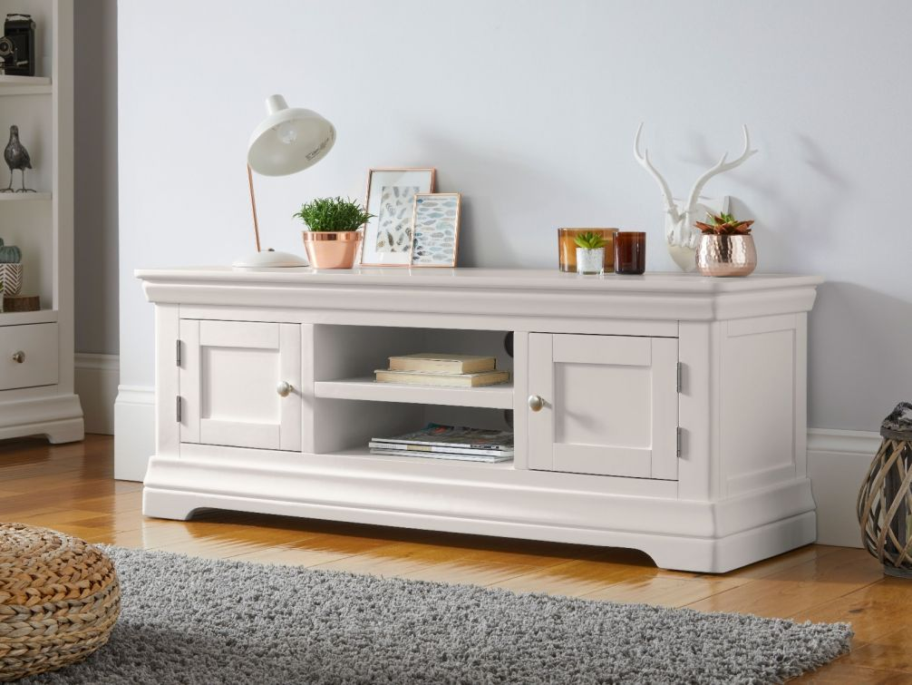 Toulouse Large Grey Painted TV Unit 2 Doors and Shelf in living room