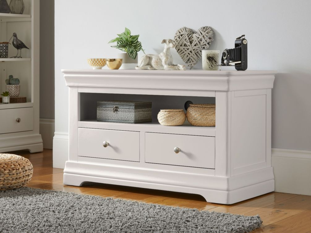 Toulouse Grey Painted TV Unit 2 Drawers in living room