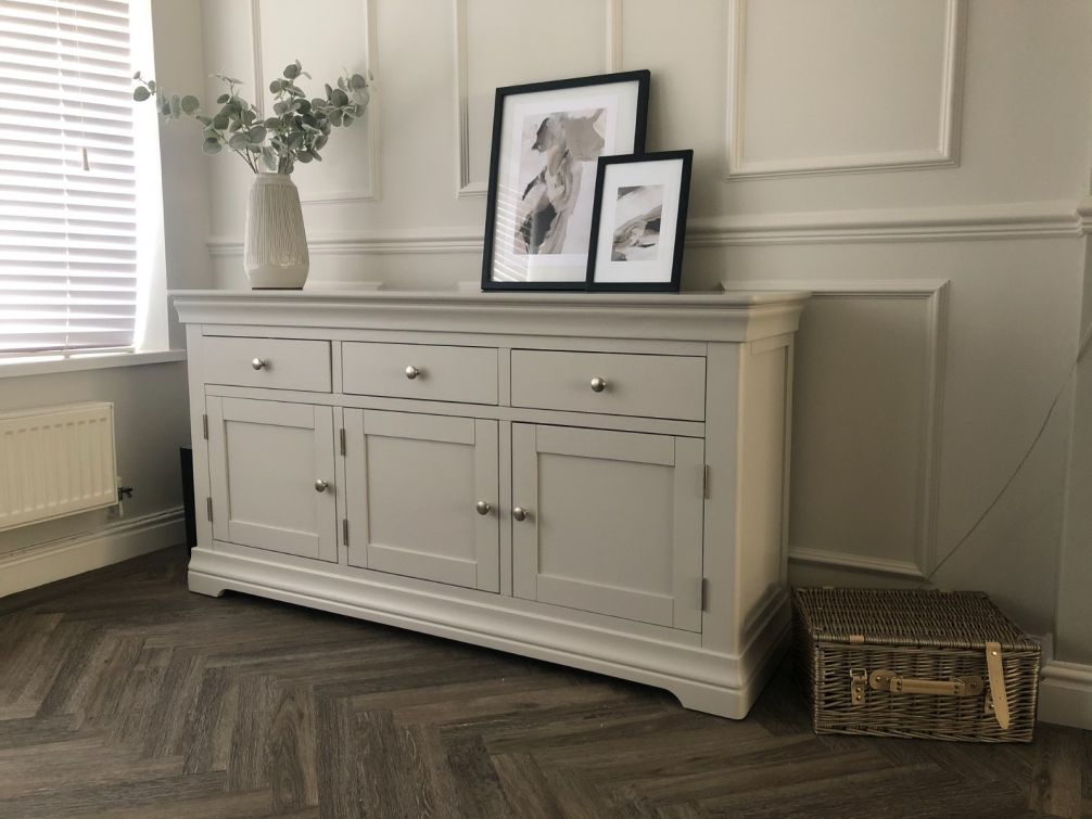 Toulouse Grey Painted Large 160cm Sideboard - Close colour match to Farrow & Ball Cornforth White paint.