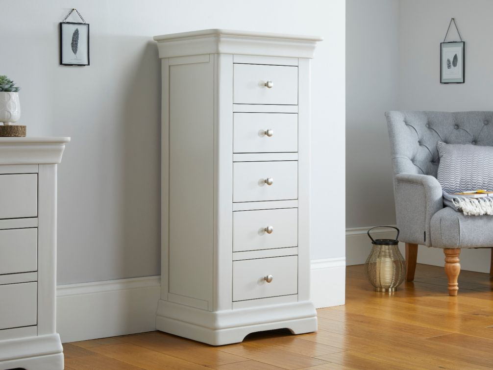 Toulouse Grey Painted 5 Drawer Tallboy Wellington Chest