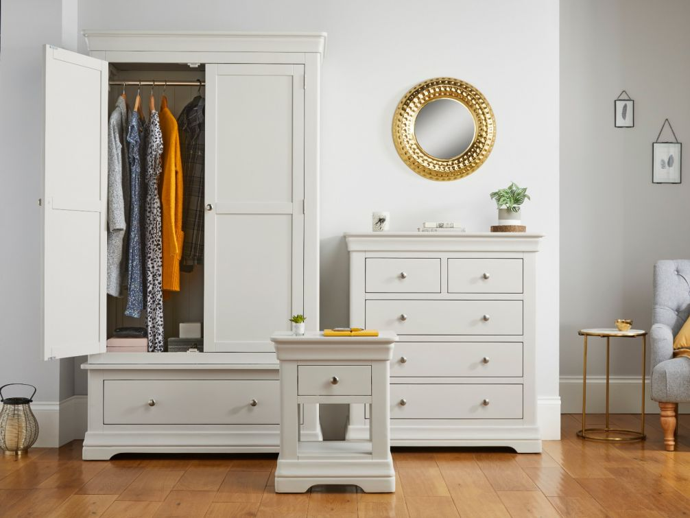 Toulouse Grey Bedroom Set Wardrobe Chest Of Drawers 1 Drawer Bedside Table