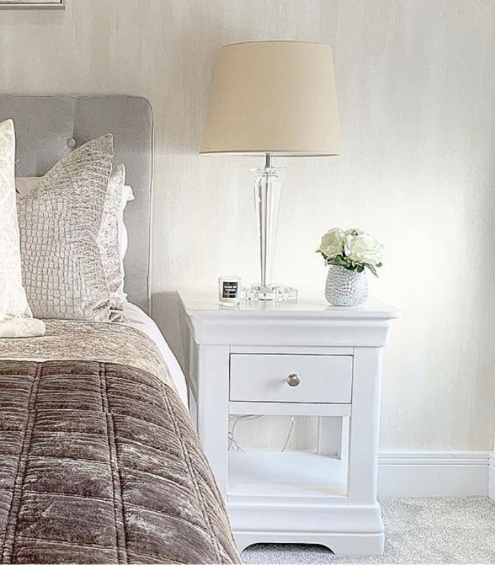 Toulouse White Painted 1 Drawer Bedside Table - Instagram influencer photo
