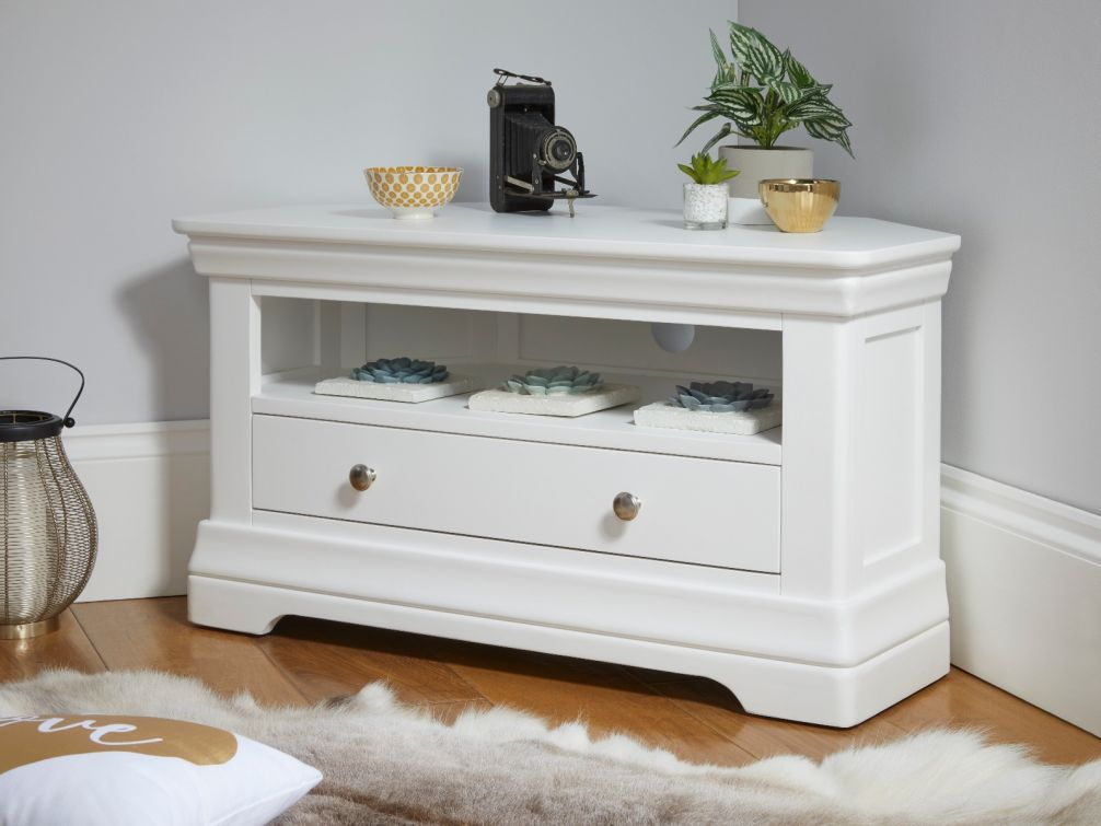 Toulouse White Painted Corner TV Unit with Drawer and shelf