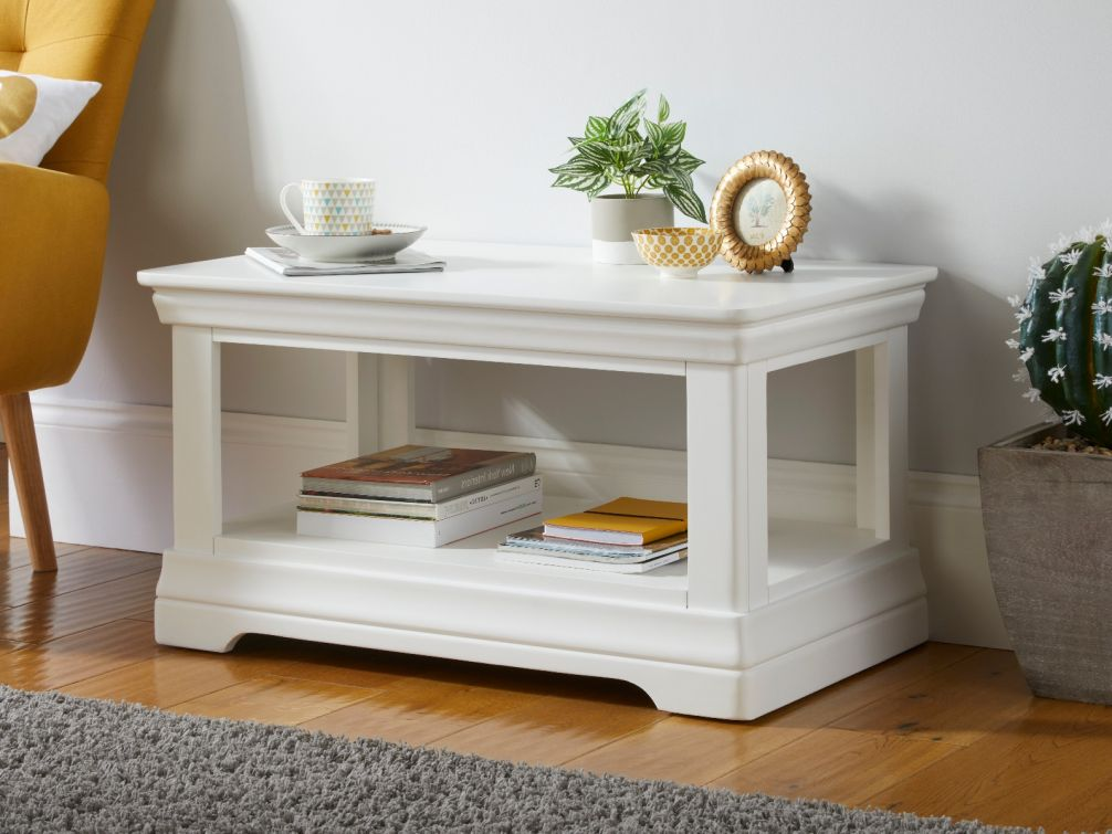 Toulouse White Painted Coffee Table with Shelf