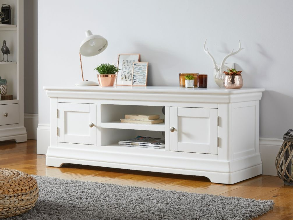 Toulouse White Painted Large TV Unit 2 Doors and Shelf