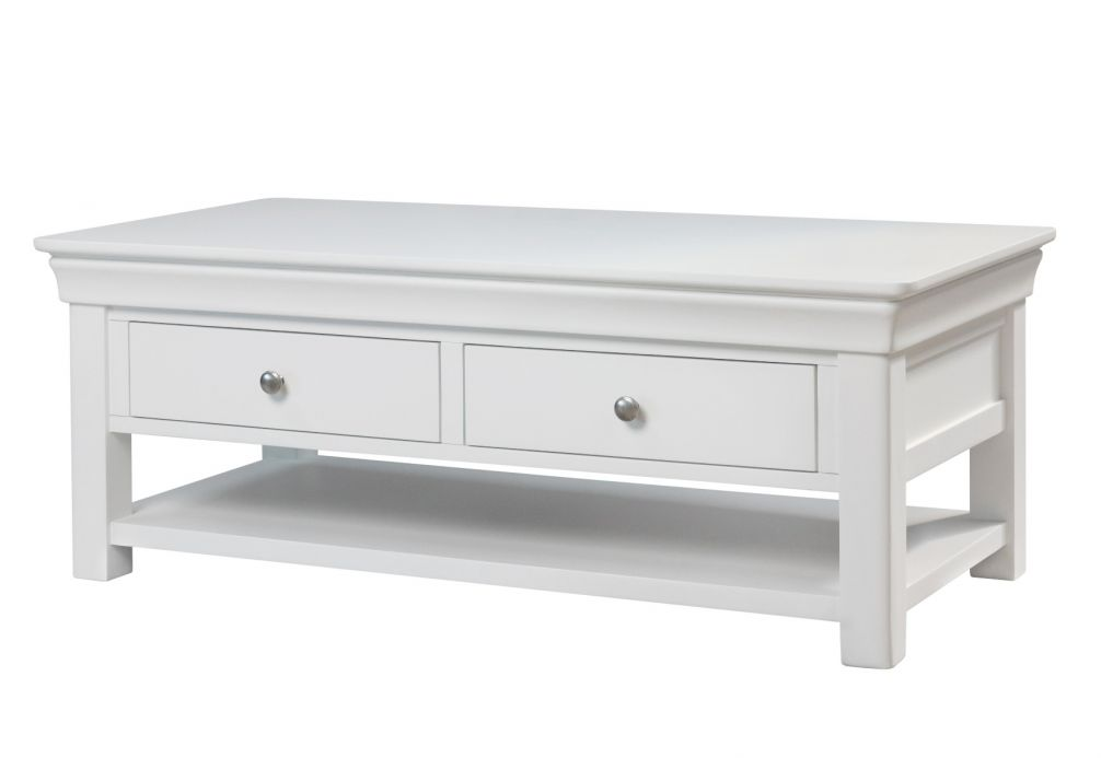 Toulouse White Painted Large Coffee Table 4 Drawers with Shelf