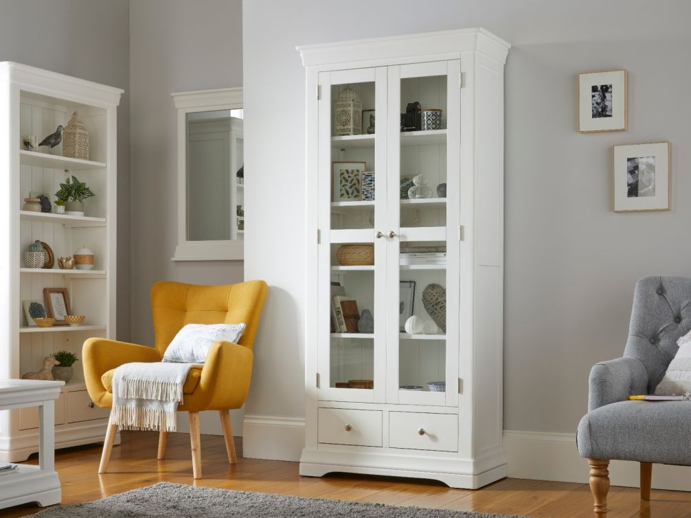 Toulouse White Painted Tall Glass Display Cabinet with Drawers