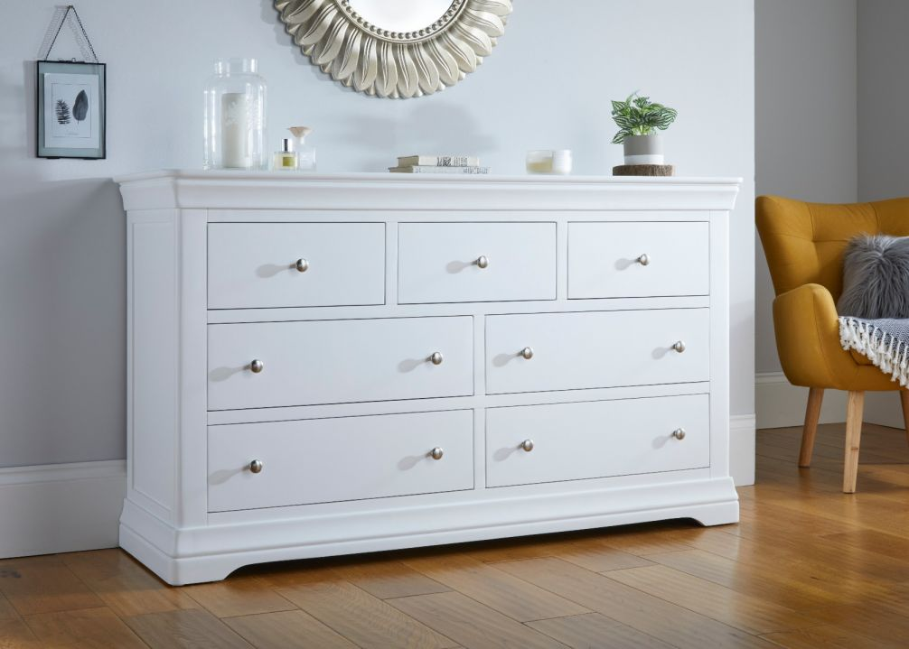 Toulouse White Painted Extra Large Grande 3 Over 4 Chest of Drawers