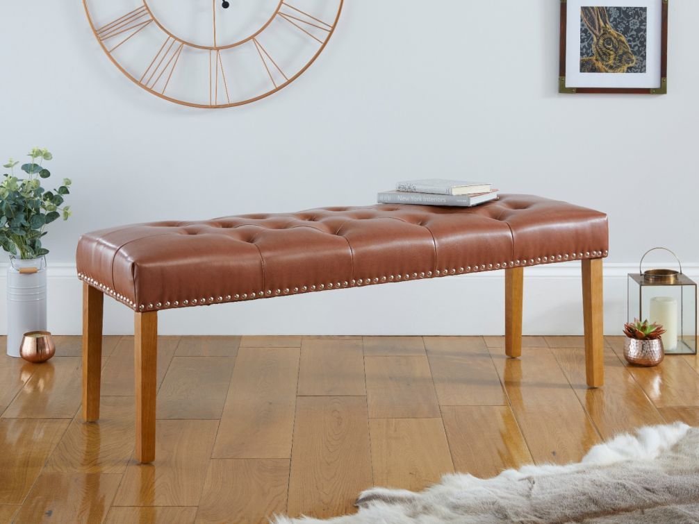Highgrove Tan Brown Leather Studded Medium Oak Dining Bench
