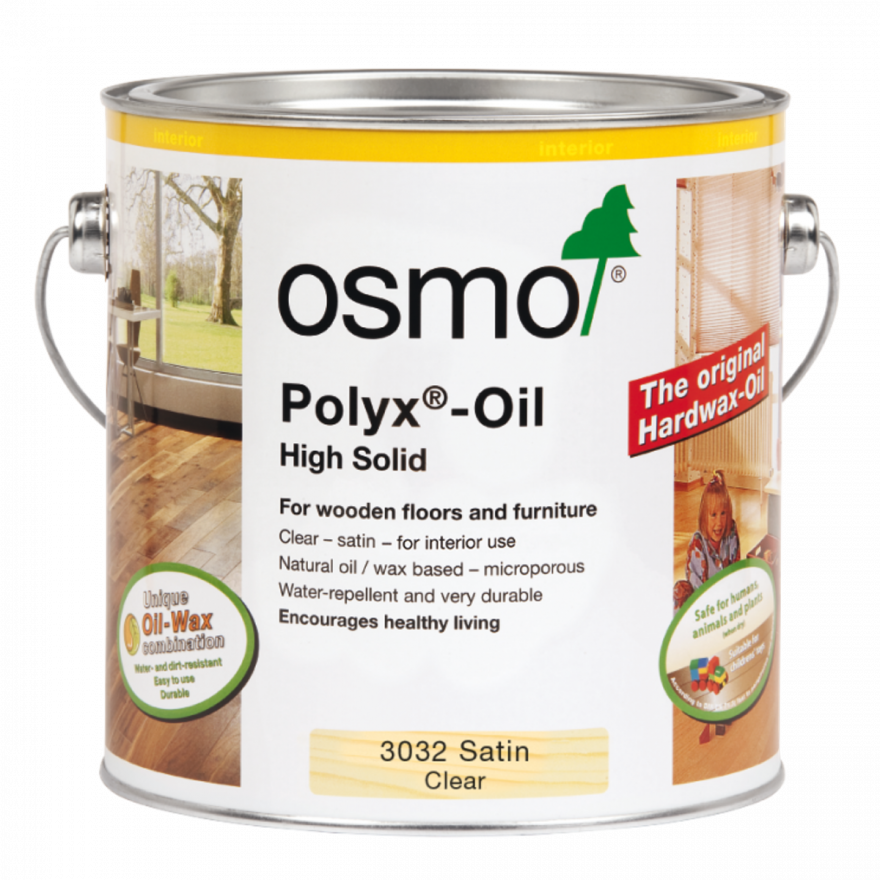 Osmo Polyx Hardwax Oil Original 3032 Clear Satin, 375ml Tin - Free Delivery